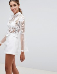 Love Triangle lace crop top with scallop neck detail - White