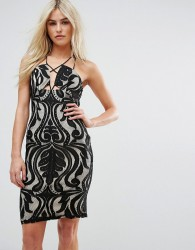Love Triangle Lace Dress With Cross Front Multi Strap Detail - Black