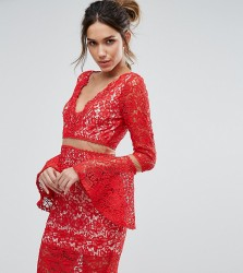 Love Triangle Lace Midi Dress With Flared Sleeves - Navy