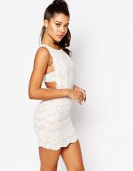 Love Triangle Lace Mini Dress with Scalloped Back - Black