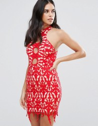 Love Triangle Lace Pencil Dress - Red