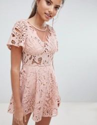 Love Triangle Lace Playsuit - Pink