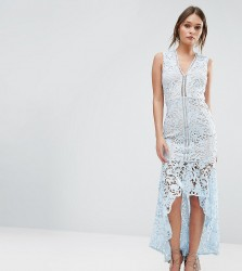 Love Triangle Lace Sleeveless Dress With Peplum Hem - Blue