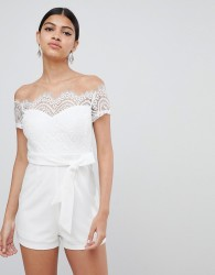 Love Triangle lace top bardot playsuit with tie waist - White