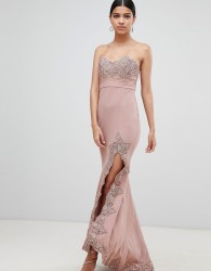Love Triangle lace trim bandeau maxi dress with thigh split - Pink
