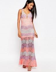 Love Triangle Multi Lace Plunge Maxi Dress - Pink