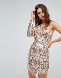 Love Triangle One Shoulder Sequin Mini Dress - Gold