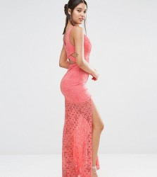 Love Triangle Plunge Front Lace Maxi Dress with Train - Multi