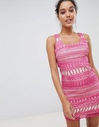Love Triangle Stripe Detail Lace Midi Dress - Pink