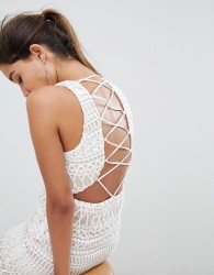 Love Triangle Stripe Detail Lace Mini Dress - White