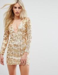 Love Triangle V Neck Mini Dress In All Over Metallic Lace - Gold