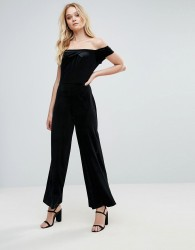 Love Velvet Bardot Frill Jumpsuit - Black