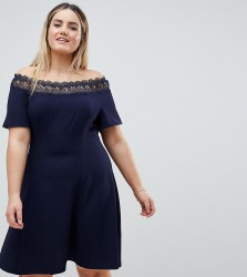 Lovedrobe Lace Trim Bardot Skater Dress - Navy