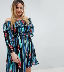 Lovedrobe Printed Bardot Dress - Multi