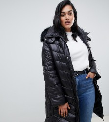 Lovedrobe Wet Look Long Quilted Coat With Faux Fur Trim - Black