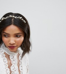 LoveRocks London Pearl & Rhinestone Cluster Headband - Gold