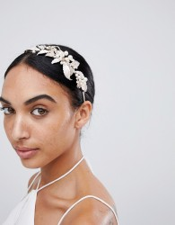 LoveRocks London Rose Gold Leaf & Pearl Hairband - Gold