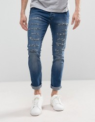 Loyalty and Faith Doric Ripped Skinny Jeans in Stone Wash - Blue