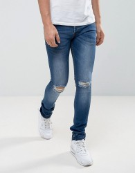 Loyalty and Faith Manchester Skinny Jean with Unrolled Hem in Mid Wash - Blue