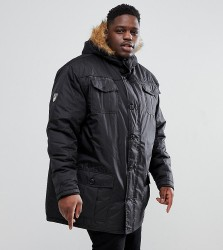 Loyalty and Faith PLUS Parka Jacket with Faux Fur Trim Hood - Black