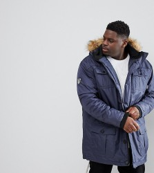 Loyalty and Faith PLUS Parka Jacket with Faux Fur Trim Hood - Navy