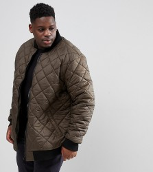 Loyalty and Faith PLUS Quilted Zip Thru Bomber Jacket - Green