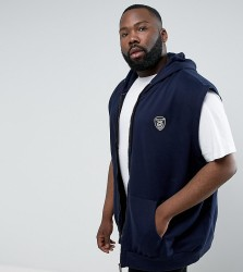 Loyalty and Faith PLUS Zip Thru Gilet Sleeveless Hoodie - Navy