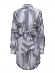 L/S Tie Front Collared Dress