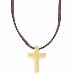 Lucleon Brun Læderhalskæde med Guldtonet Kors