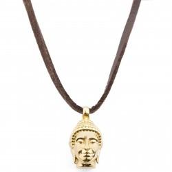 Lucleon Læderhalskæde med Guldtonet Buddha