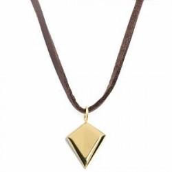 Lucleon Læderhalskæde med Guldtonet Trekant