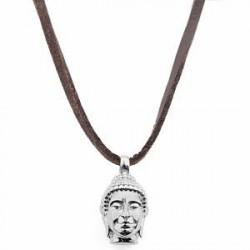 Lucleon Læderhalskæde med Sølvtonet Buddha Vedhæng