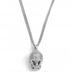 Lucleon Sølvfarvet Buddha Stålhalskæde