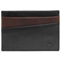 Lucleon Sort & Mørkebrun Mini Montreal RFID-Læderkortholder
