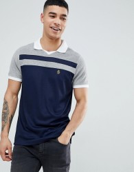 Luke Sport Away towelling polo shirt with football collar in navy/grey - Navy