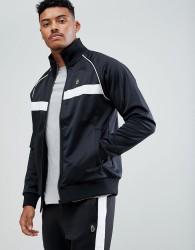 Luke Sport Eric Funnel Neck Track Jacket In Black - Black