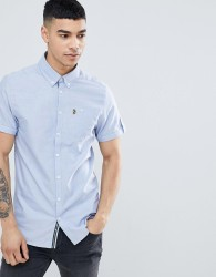 Luke Sport Jimmy Travel Short Sleeve Buttondown Shirt in Blue - Blue