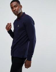 Luke Sport Longmead Tipped Collar Long Sleeve Polo Shirt in Dark Navy - Navy