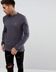 Luke Sport Traff Long Sleeve T-Shirt In Charcoal - Grey