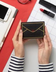Lulu Guinness Leather Envelope Card Holder - Black