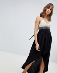 Lunik Hi Lo Maxi Dress With Crochet Top - Black
