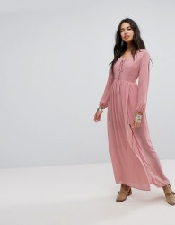 Lunik Shoulder Cut Out Maxi Dress With Button Hold Trim - Pink