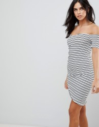 Lunik Stripe Bodycon Bardot Dress - Black