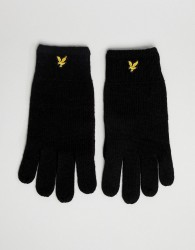 Lyle & Scott ribbed lambswool gloves in black - Black