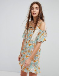 Maaji Flower Print Cold Shoulder Dress - Multi