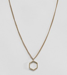 Made cut out hexagon pendant necklace - Gold