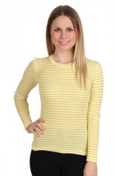 Mads Nørgaard - Bluse - 2x2 Soft Stripe Tuba - White/Yellow