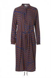 Mads Nørgaard - Kjole - Viscose Stripe Sacca Cuff - Mid Brown/Blue