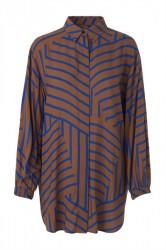 Mads Nørgaard - Skjorte - Viscose Stripe Salaxa - Mid Brown/Blue