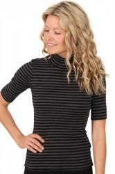 Mads Nørgaard - T-shirt -Tuqina - 2x2 soft stripes - Black Charcoal Melange